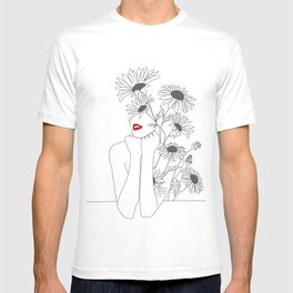 Minimal Line Art Girl with Sunflowers T-shirt