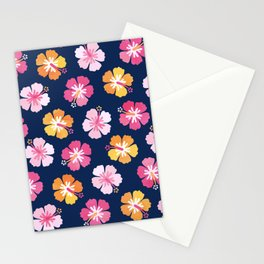 CANDY COLORED HIBISCUS on NAVY Stationery Cards