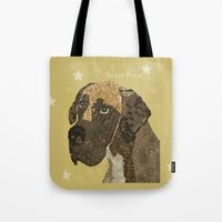 great dane Tote Bags featuring the great dane by bri.buckley
