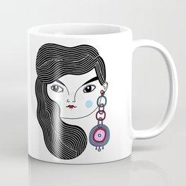 Girl With A Giant Earring Coffee Mug