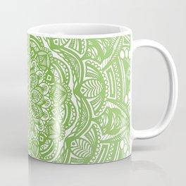 Olive Lime Green Mandala Detailed Ethnic Tribal Pattern Coffee Mug