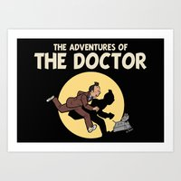 tintin Art Prints featuring The Adventures Of The Doctor by Deborah Picher Illustrations
