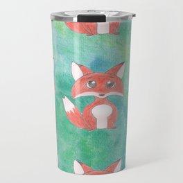 Fox Pattern on Green Background Travel Mug