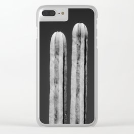 Cacti twins (white/black) Clear iPhone Case