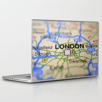 london map Laptop & iPad Skins featuring London Map by Brian Raggatt