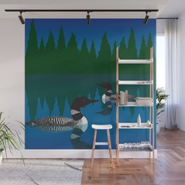 Loons in a Woodland Lake Wall Mural