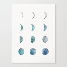 Moon Phases - Light Canvas Print