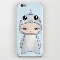 tintin iPhone & iPod Skins featuring A Boy - Shark by Christophe Chiozzi