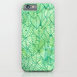 Green foliage watercolor iPhone Case