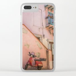 Red Scooter in Sicily Clear iPhone Case