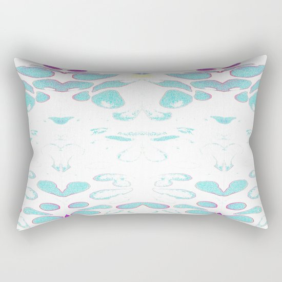 Summer Vibes, Blue and Purple Neon Leaves Rectangular Pillow