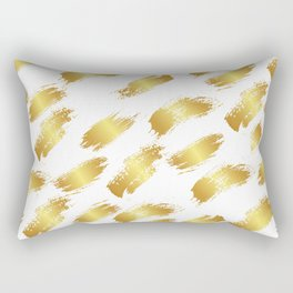 Abstract white faux gold artistic paint brushstrokes pattern Rectangular Pillow