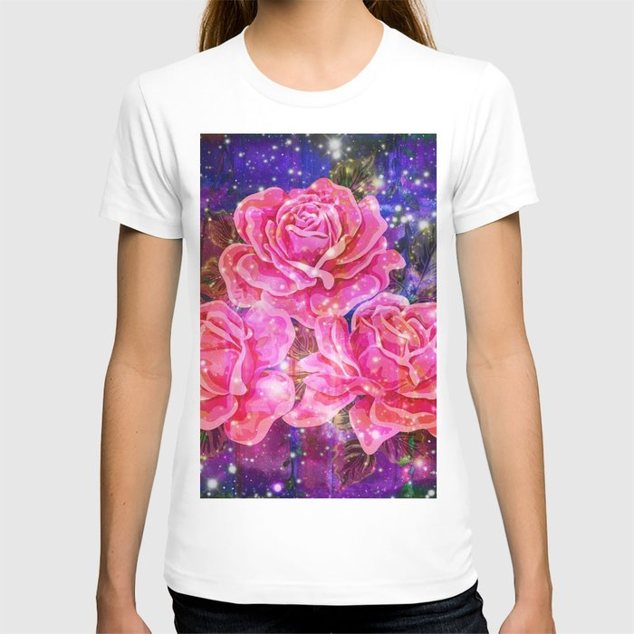 Roses with sparkles and purple infusion T-shirt