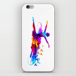 Colorful ballet dancer with flying birds iPhone Skin