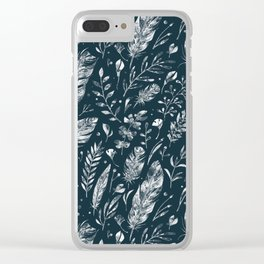 Feathers And Leaves Abstract Pattern Black And White Clear iPhone Case