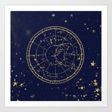 Metallic Gold Vintage Star Map 3 Art Print