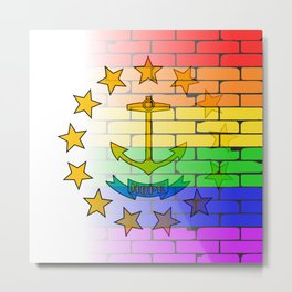 Rainbow Wall Rhode Island Metal Print