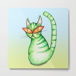 Funny green cat Metal Print