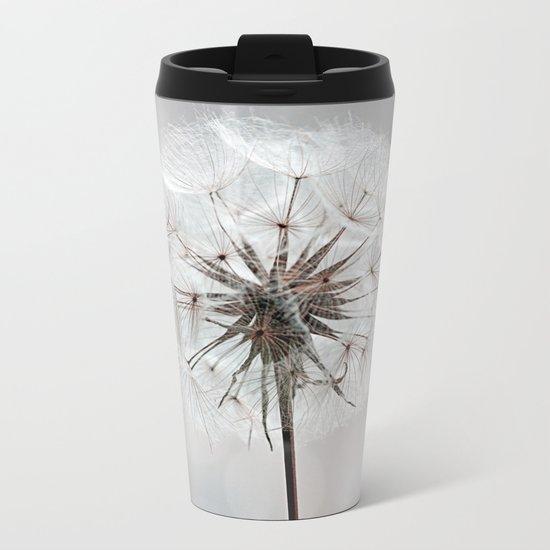 Delicate Dandelion Flower in soft light Metal Travel Mug