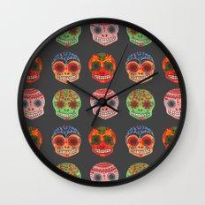 Watercolor Dia de los Muertos Skulls Wall Clock