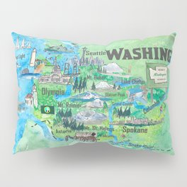 USA Washington State Illustrated Travel Poster Favorite Map Pillow Sham