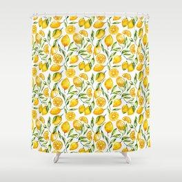 sunny lemons print Shower Curtain