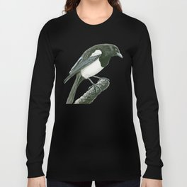 Magpie ink painting Long Sleeve T-shirt