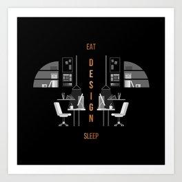 Eat Sleep Design Copper Art Print