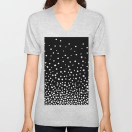 White Polka Dot Rain on Black Unisex V-Neck