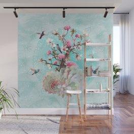 FLORAL HUMMINGBIRD Wall Mural