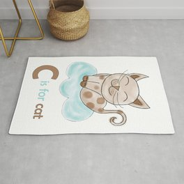 C is for Cat, children alphabet for kids room and nursery Rug