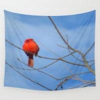 cardinal Wall Tapestries featuring Cardinal  by Jillian Stanton