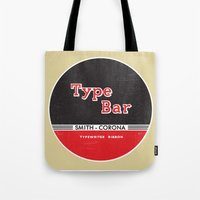 bar Tote Bags featuring Type Bar by One Little Bird Studio