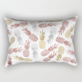 Tropical white faux rose gold silver pineapple pattern Rectangular Pillow
