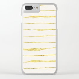 Gold Horizontal Geometric Stripes Clear iPhone Case