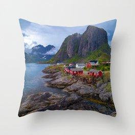 Breathtaking Rugged Coastline Scenic Seaside Mountain Village Throw Pillow