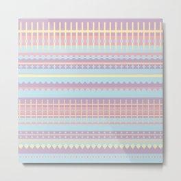 PPASTELL - Pastel, Pink, Lilac, Stripes, Nursery, Baby, Blue Metal Print