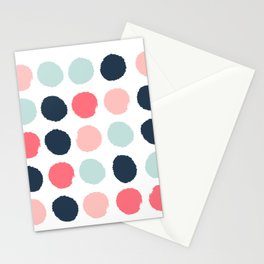 Dots painted coral mint navy pink pattern dotted polka dot minimalist Stationery Cards