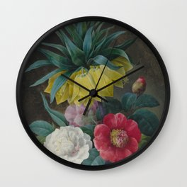 Pierre Joseph Redouté - Four Peonies and a Crown Imperial Wall Clock