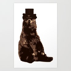 Bear in Top Hat Art Print