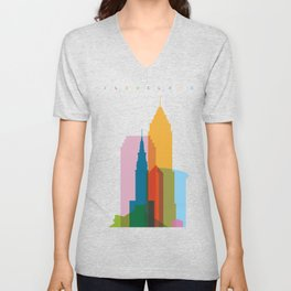 Shapes of Cleveland accurate to scale Unisex V-Neck