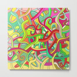Color curved lines 2 Metal Print