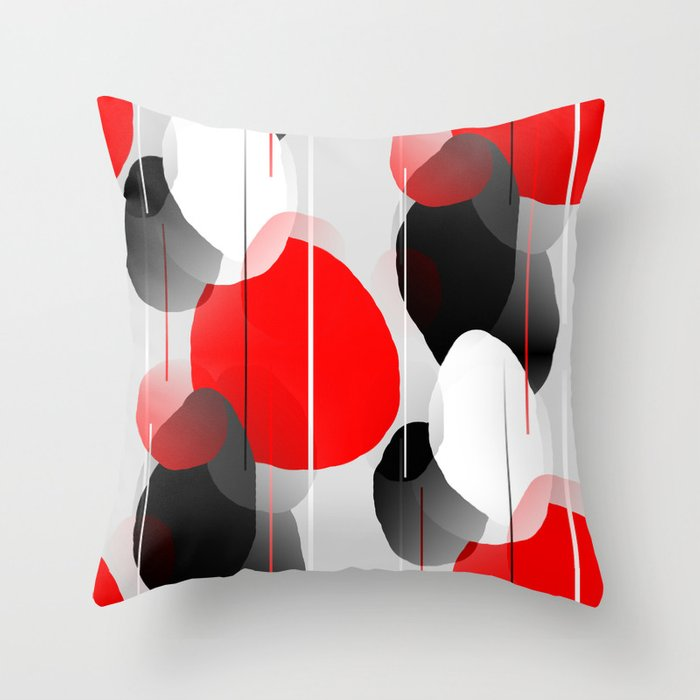 Modern Anxiety Abstract - Red, Black, Gray Throw Pillow