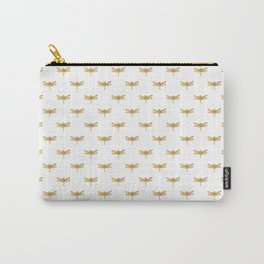 Golden Dragonfly Repeat Gold Metallic Foil on White Carry-All Pouch
