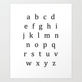 Classic Alphabet Lowercase Sign Art Print