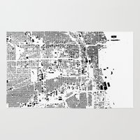 chicago map Area & Throw Rugs featuring Chicago Map Schwarzplan Only Buildings by City Art Posters