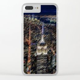 Empire State Building NYC Skyline Landscape Painting by Jeanpaul Ferro Clear iPhone Case