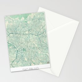 Sao Paulo Map Blue Vintage Stationery Cards