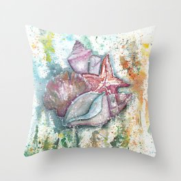 Seashells Art Illustration Throw Pillow