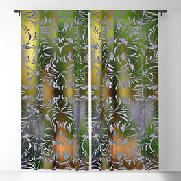 Abstract floral ornament on colorful fuzzy background Blackout Curtain